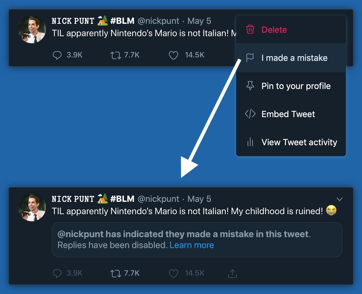 Twitter Mea Culpa:标记一个帖子有误